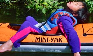 Asleep in a kayak